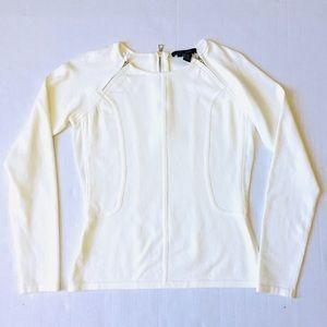 Etcetera Cream Peplum Light Sweater Top Sz S